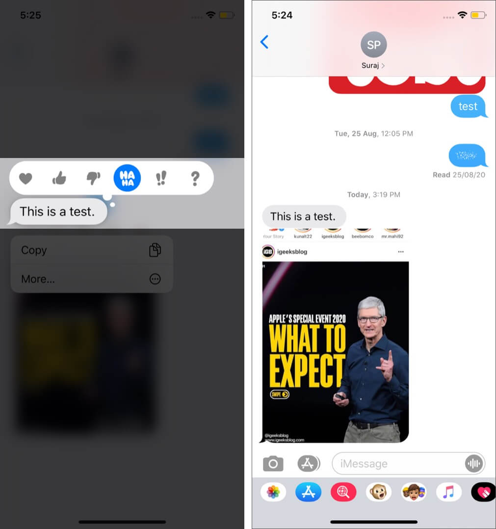 delete emoji reaction tapback in imessage on iphone