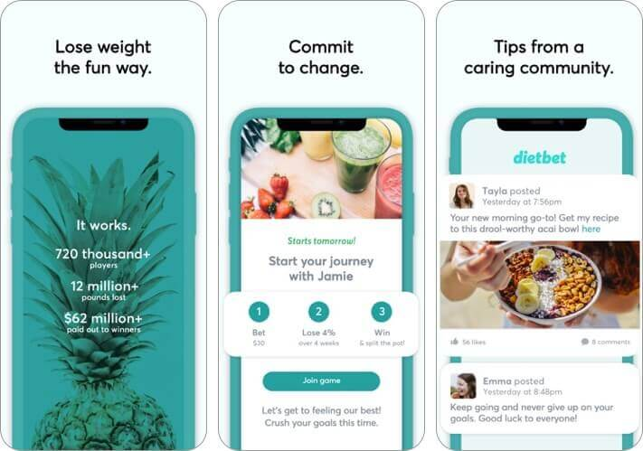 dietbet iphone and ipad weight loss app screenshot