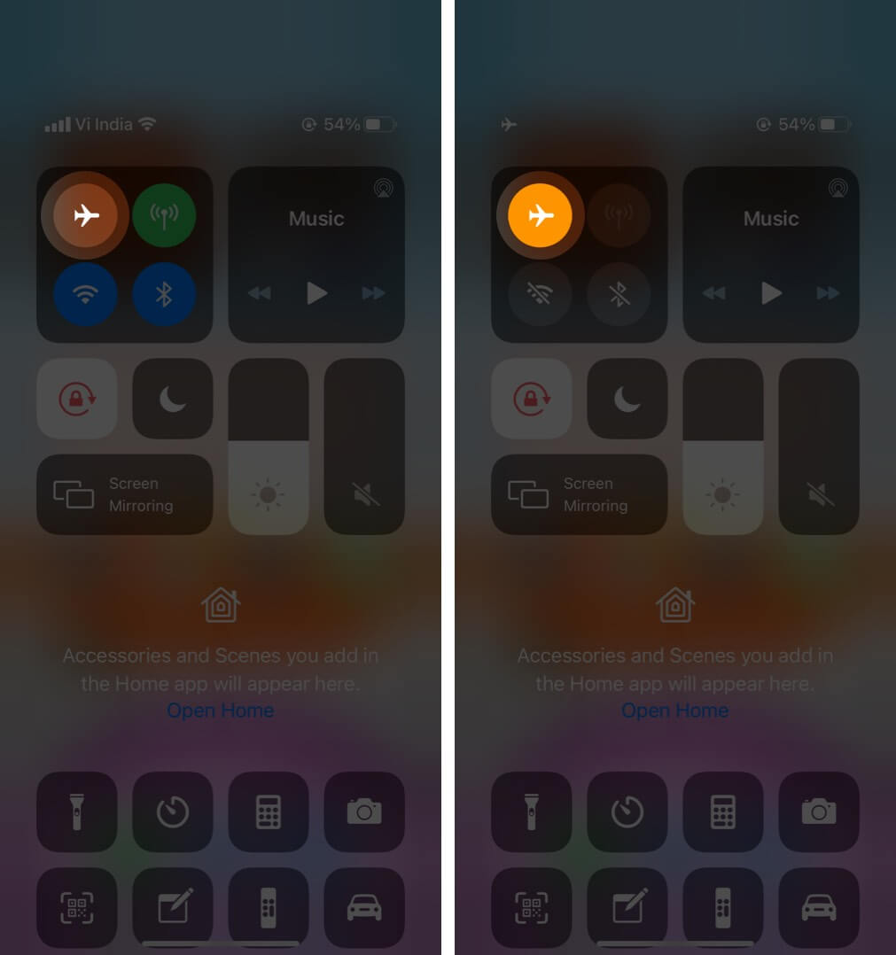 enable airplane mode from control center on iphone
