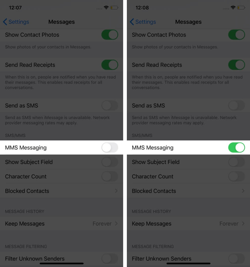 enable mms for text message on iphone