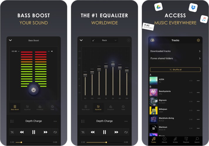 equalizer+ hd music player iphone and ipad app screenshot