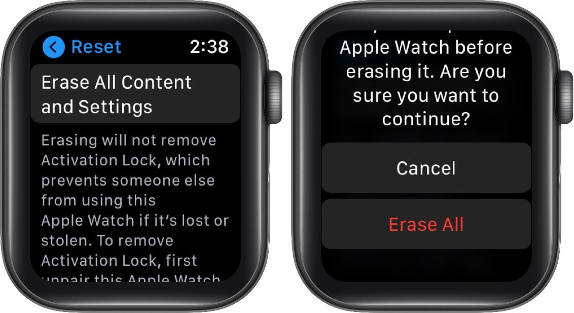 delete all content and settings on Apple Watch