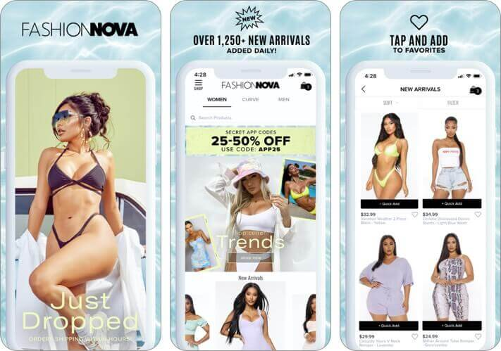 fashion nova iPhone and iPad app screenshot