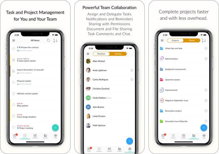 hitask: team task management iphone and ipad app screenshot