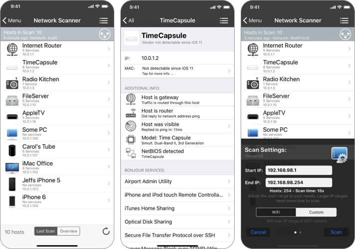 inet network scanner iphone and ipad wifi analyzer app screenshot