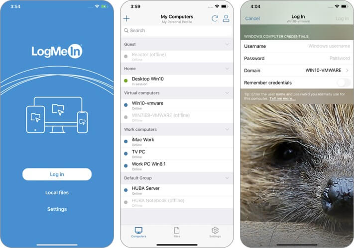 logmein remote desktop iphone and ipad app screenshot