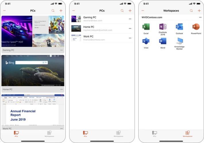 microsoft remote desktop iphone and ipad app screenshot