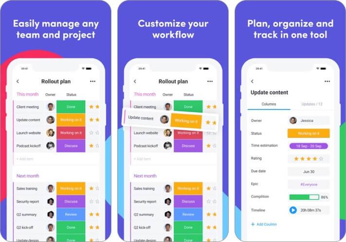 monday.com iphone and ipad team management app screenshot