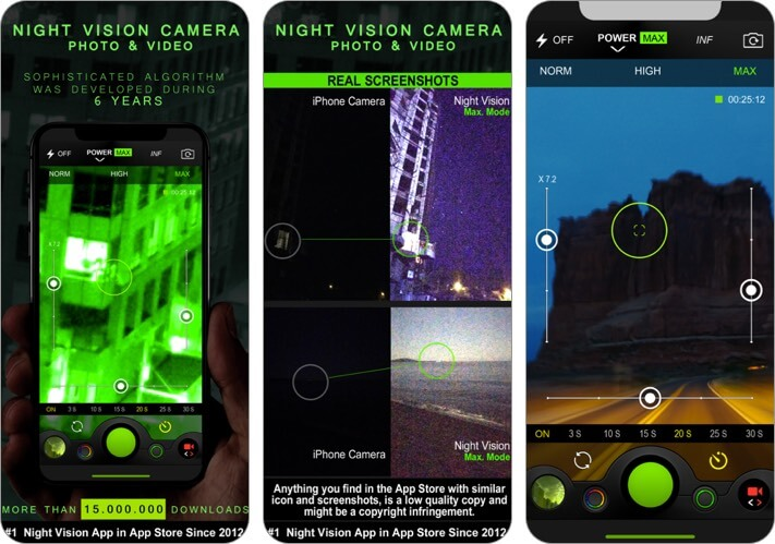 night vision photo & video iphone and ipad app screenshot