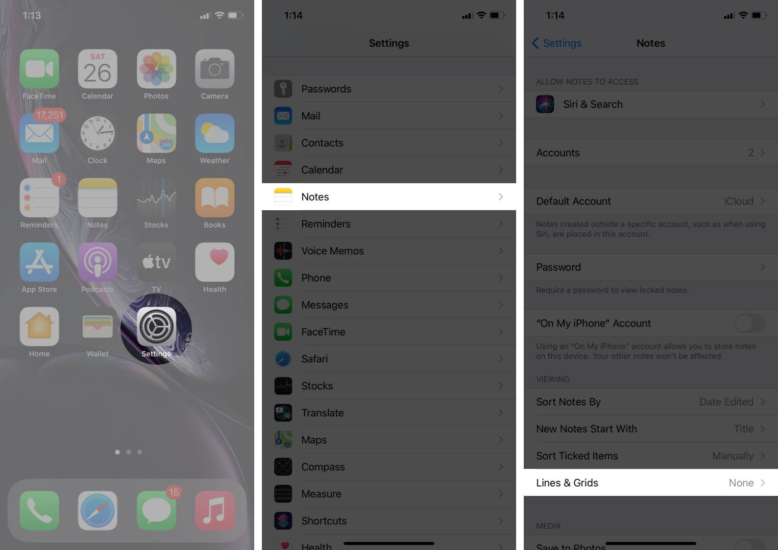 open settings tap on notes and then tap on lines and grids on iphone