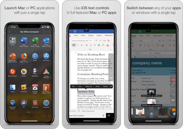 parallels access remote desktop iphone and ipad app screenshot