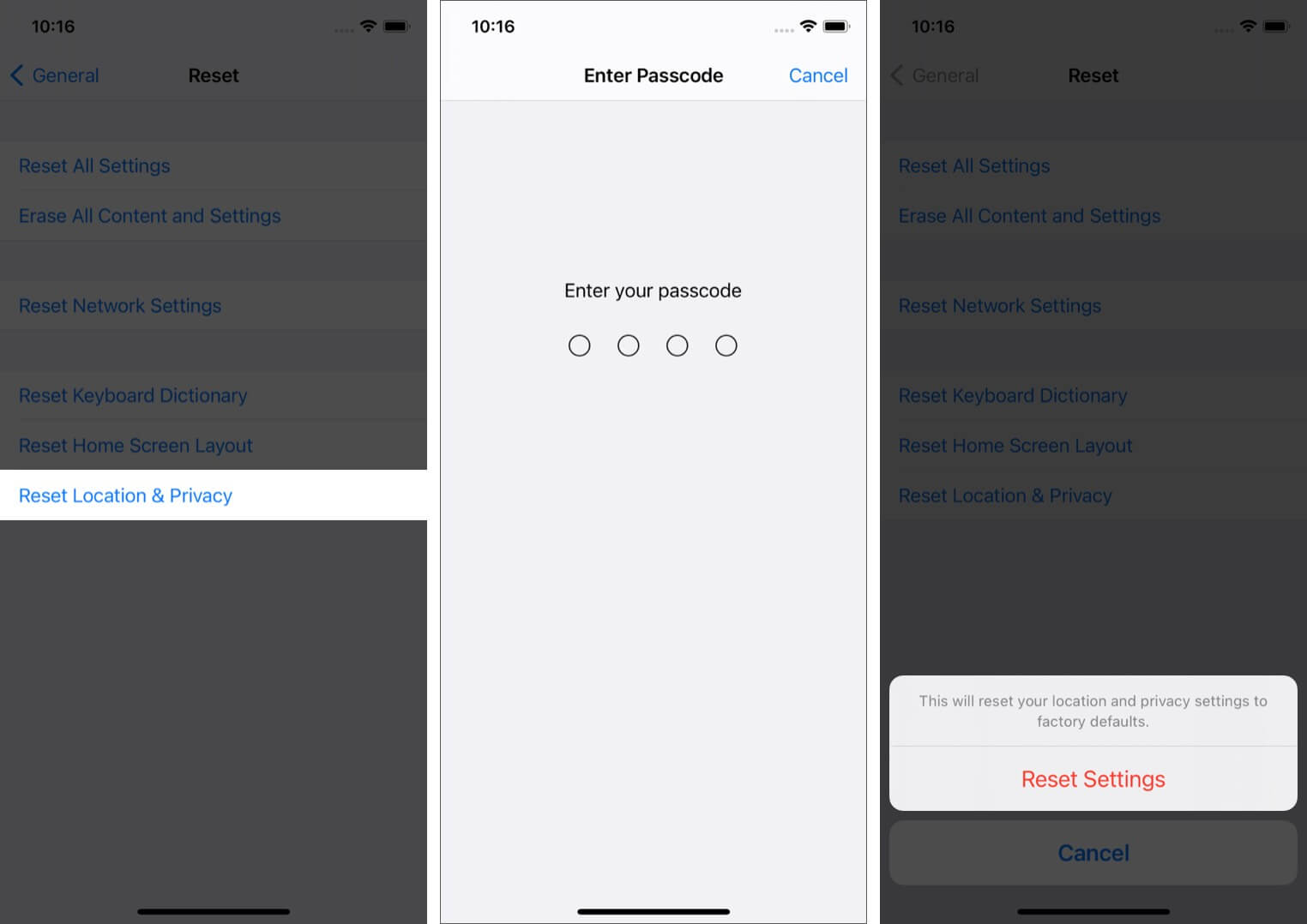 reset location & privacy settings on iphone
