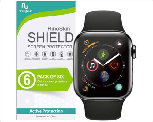 rhinogear case friendly screen protector for apple watch series 6 and 5