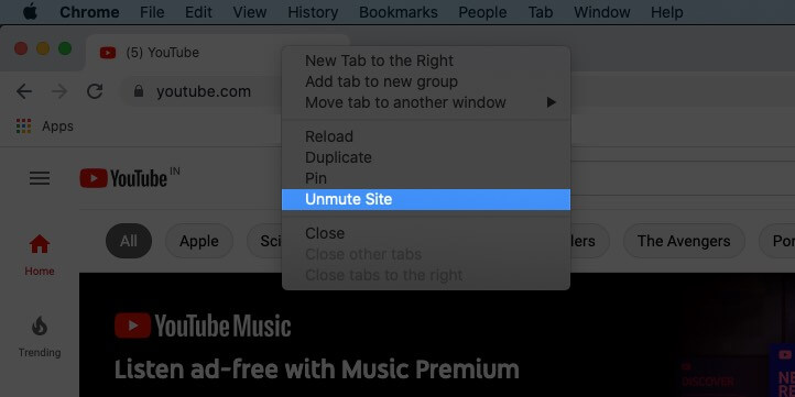 right click on title bar and select unmute site in chrome