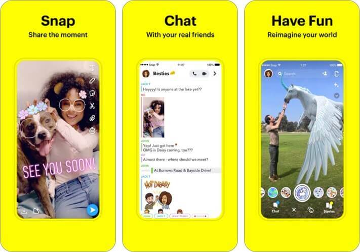 snapchat iphone app screenshot