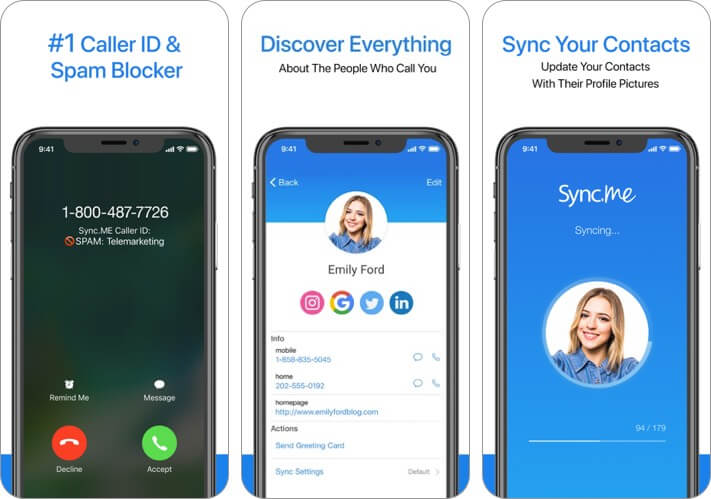 sync.me iphone app screenshot