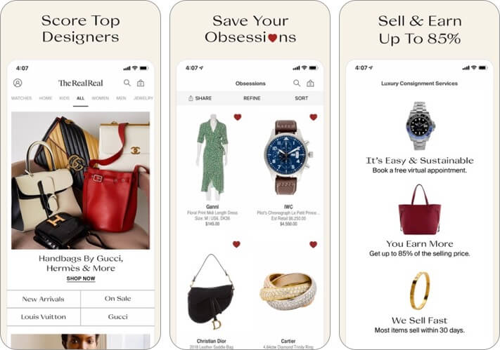 the real real screen for the iPhone and iPad fashion apps