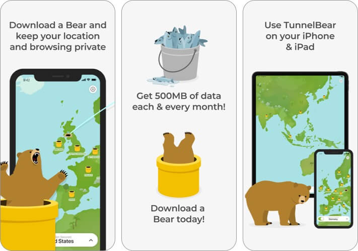 tunnelbear iphone and ipad vpn app screenshot