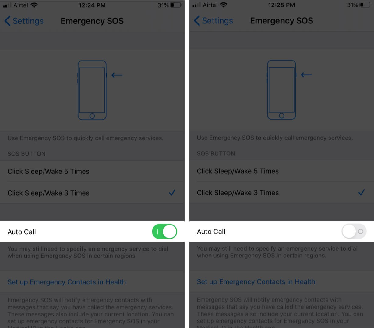 turn off emergency sos call on iphone