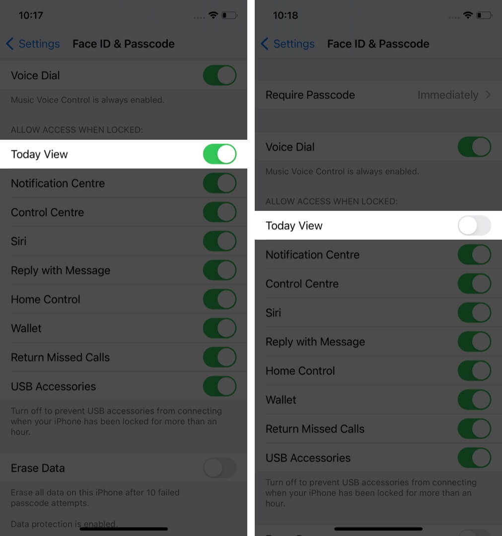 turn off today view in settings on iphone