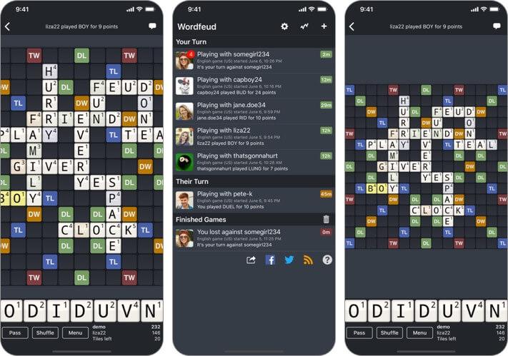 word blitz iphone and ipad scrabble app screenshot