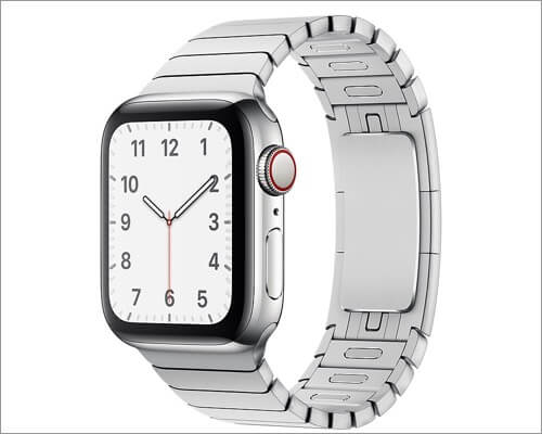 Apple Silver Link Bracelet Stainless Steel Band for Apple Watch Series 6, SE, 5, 4, and 3
