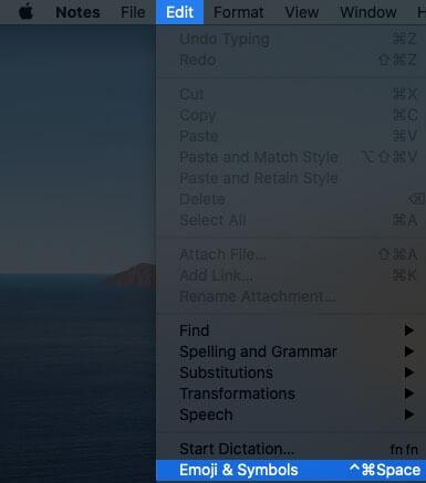 Нажмите «Редактировать» в строке меню, а затем «Эмодзи и символы» на Mac.