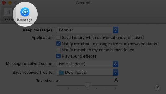 Click on iMessage Tab in Messages Preferences on Mac
