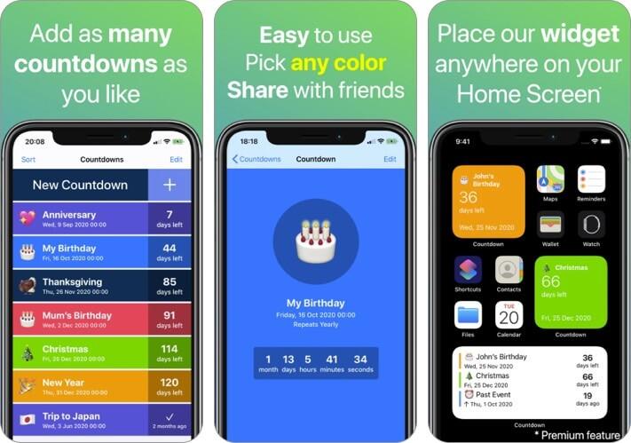 Countdown iPhone und iPad App Screenshot