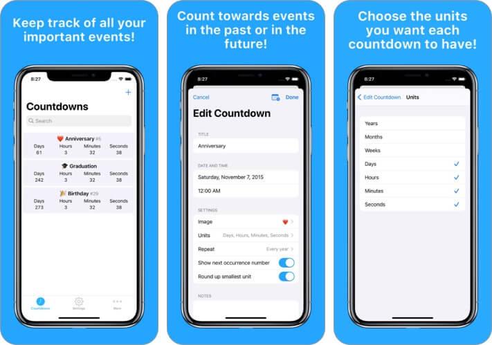 Countdowns Ereignisse iPhone und iPad App Screenshot