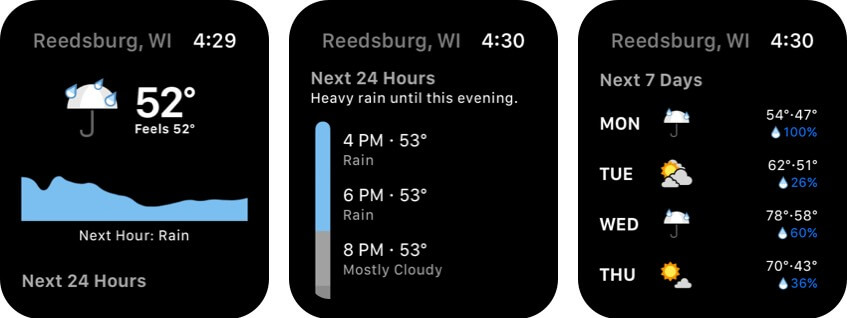 Dark Sky Weather Apple Watch App Screenshot