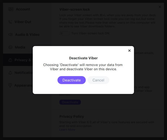 Deactivate Viber Account from Desktop or Mac