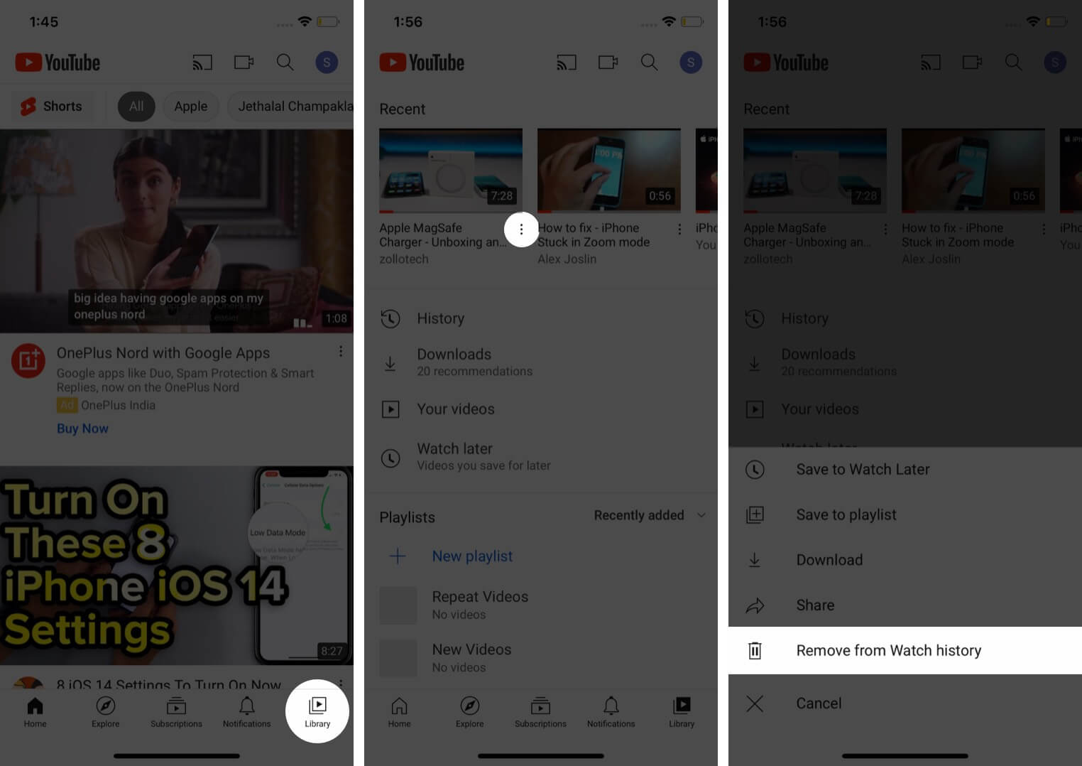 Delete Individual Watch History in YouTube App on iPhone