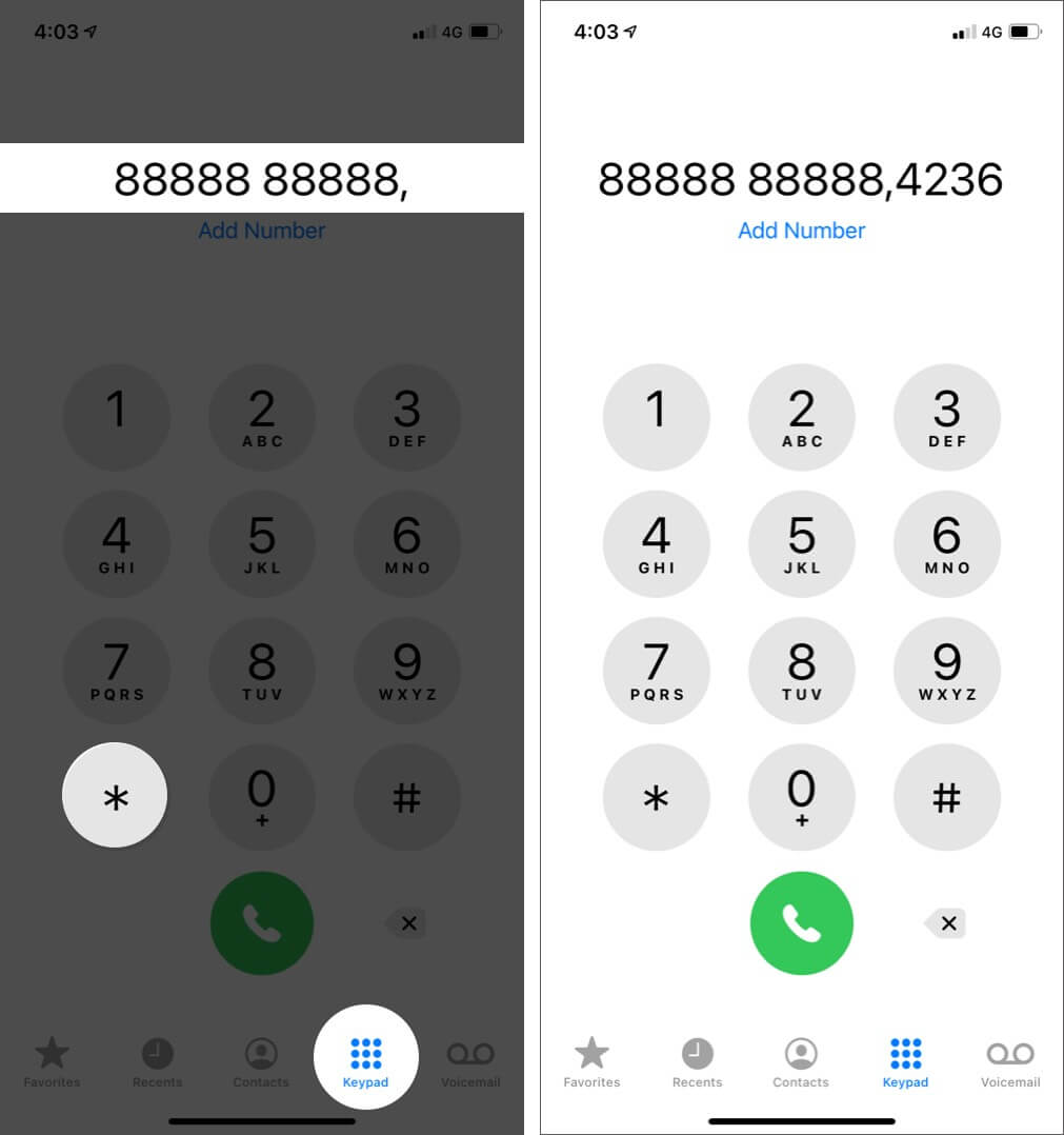 Dial an Extension Using Comma on iPhone