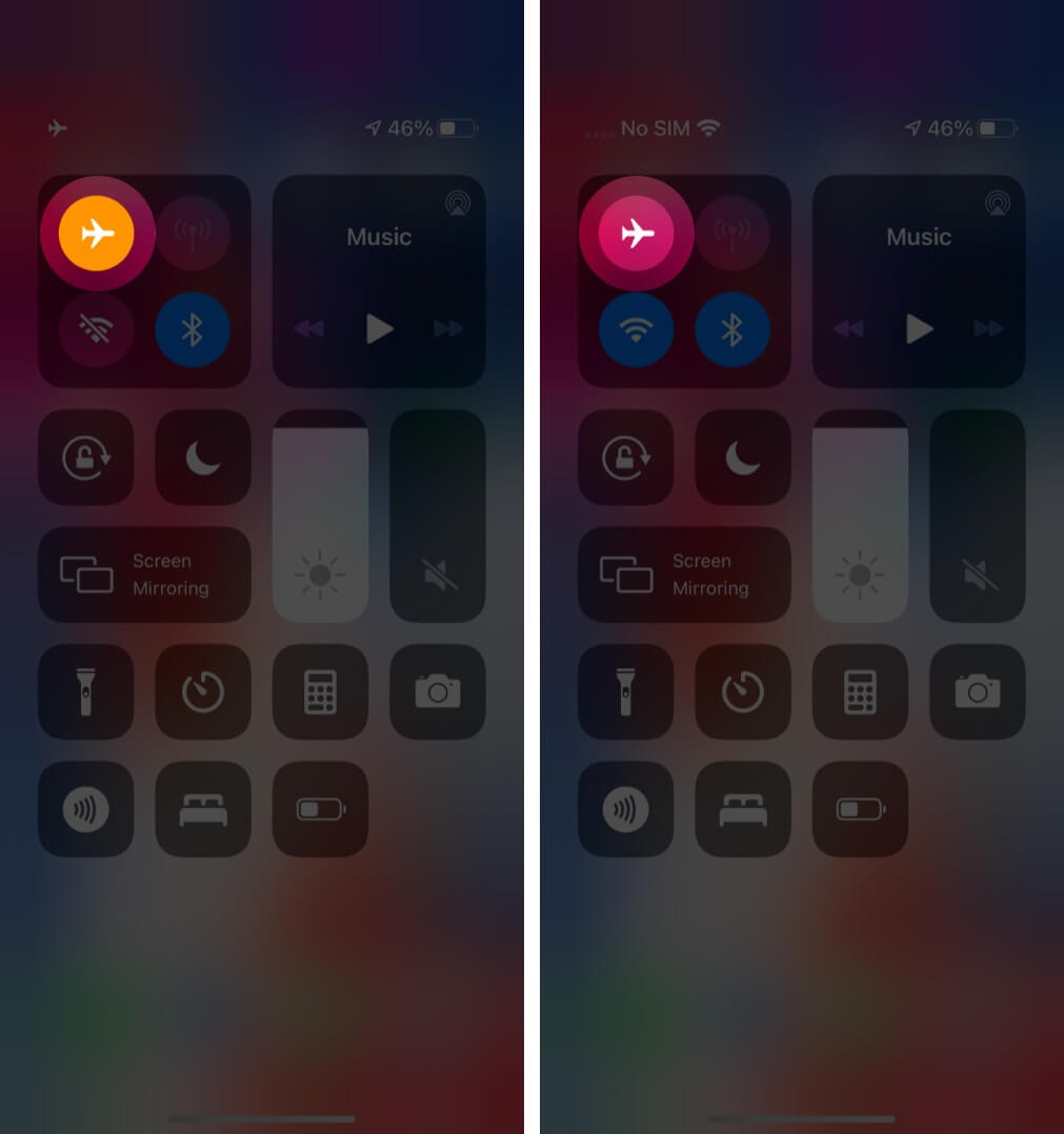 Disable Airplane Mode from Control Center on iPhone