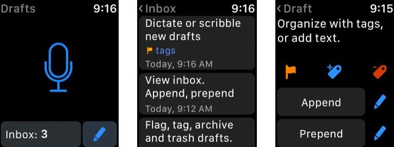 Drafts Apple Watch Notes App Screenshot