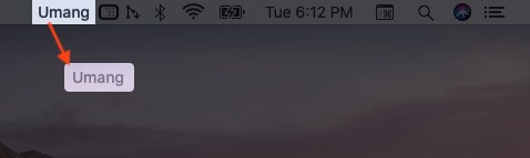 Drag Name to Remove it from Mac Menu Bar