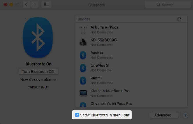 Enable Show Bluetooth in menu bar in System Preferences on Mac