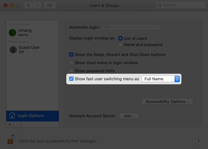 Enable Show fast user switching menu as Option on Mac