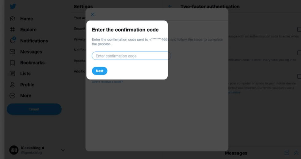 Enter Code and Click on Next to Enable 2FA via Text Message for Twitter on Computer