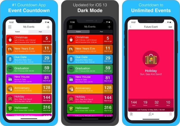 Ereignis Countdown iPhone und iPad App Screenshot