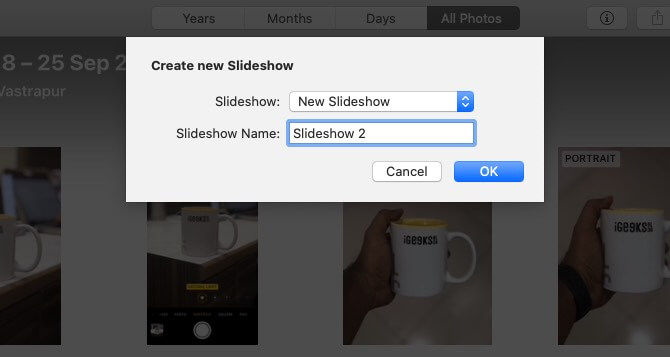 Give Name to Slideshow and Click on OK in Photos App on Mac