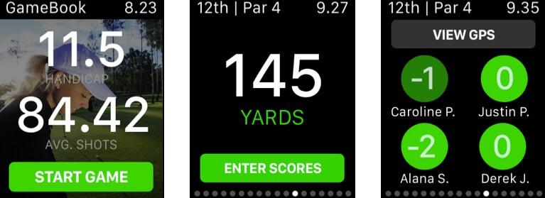Golf GameBook Apple Watch App Screenshot