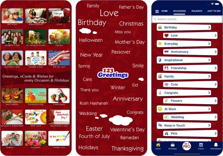 Greeting Cards and Wishes iPhone App Screenshot