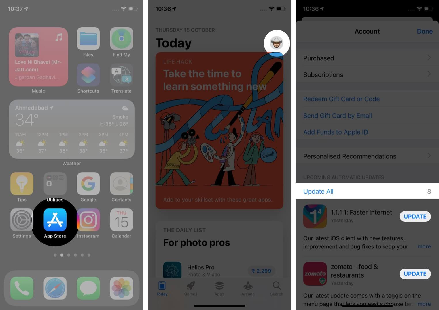 Open App Store Tap on Profile and Then Tap on Update All to Update iPhone Apps