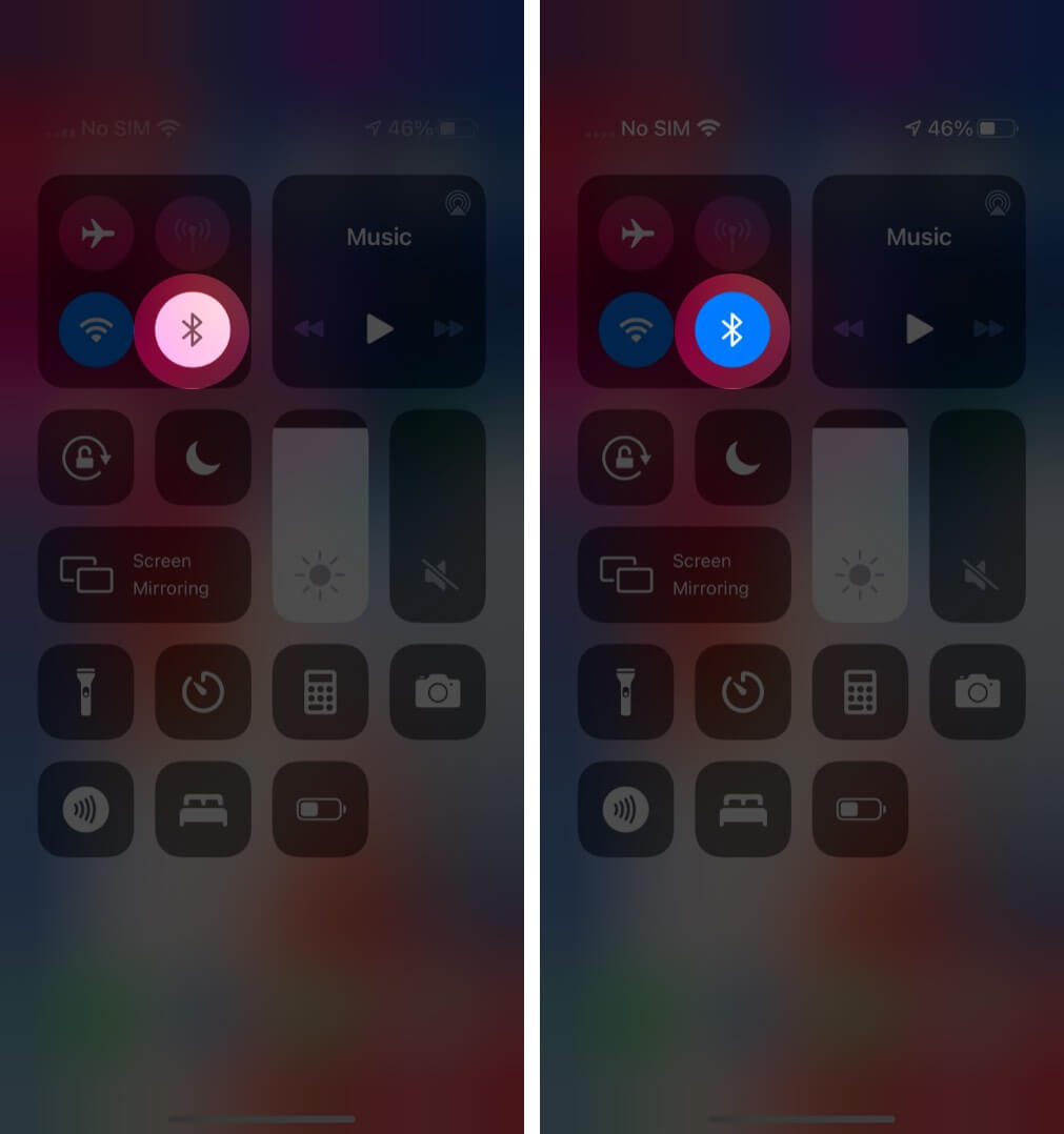 Open Control Center and Turn ON Bluetooth on iPhone