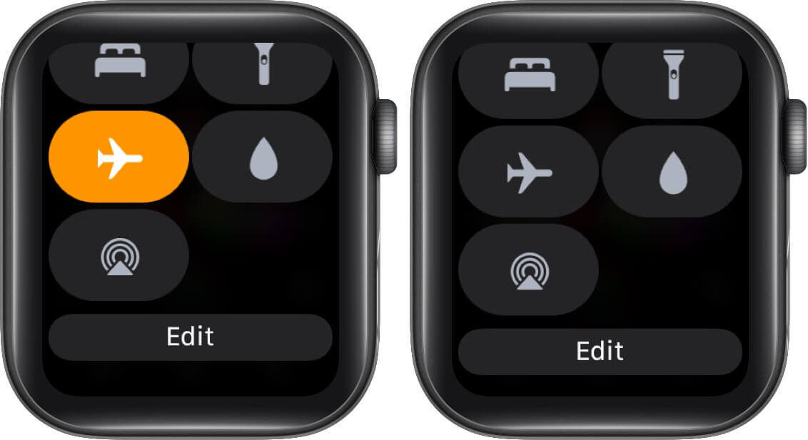 Open Control Center and Turn Off Airplane Mode on Apple Watch