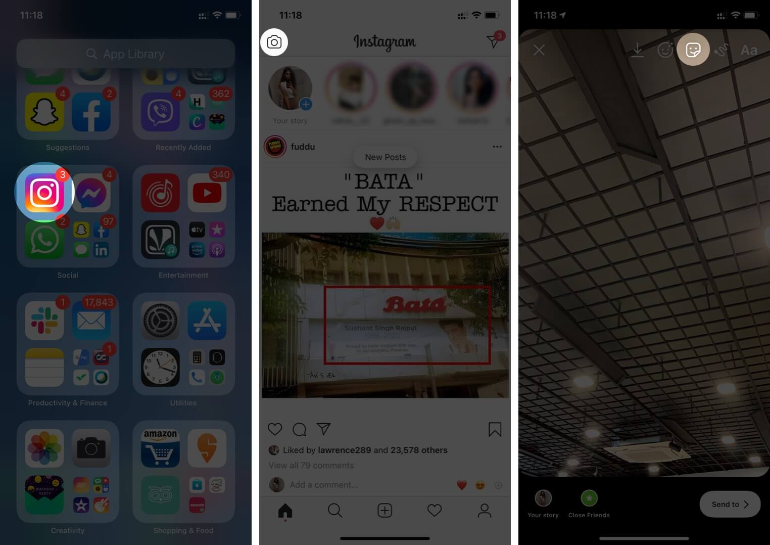 Open Instagram Tap on Camera Icon and then Tap on Sticker on iPhone