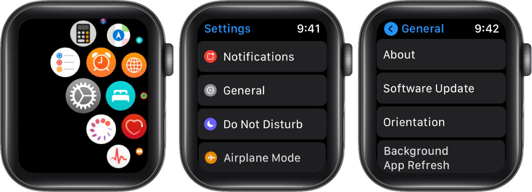 Open Settings Tap on General and Then Tap on Update on Apple Watch