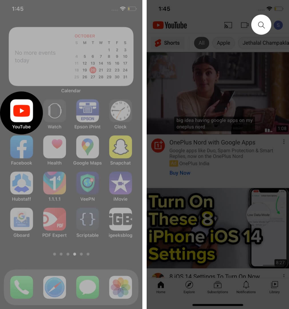 Open YouTube App and Tap on Search on iPhone